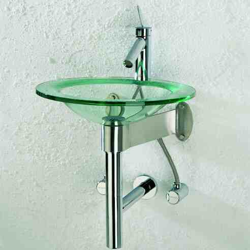 Glas-Waschtisch FARO, Ausführung F2 für Einloch-Armatur